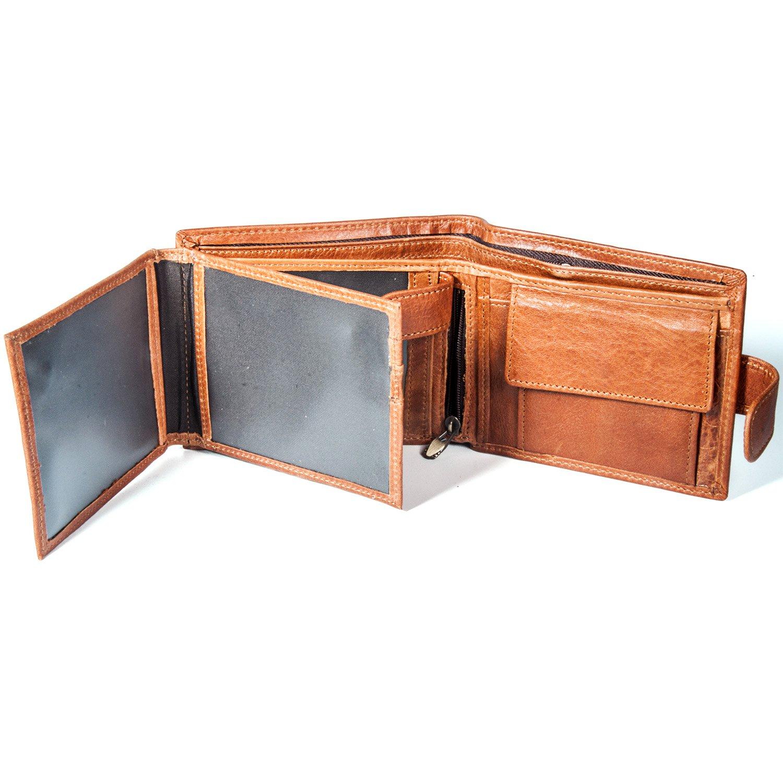 Mens Crazy Horse Genuine Leather RFID Bifold Wallet Organizer Checkbook Iron Chain (521-Short)