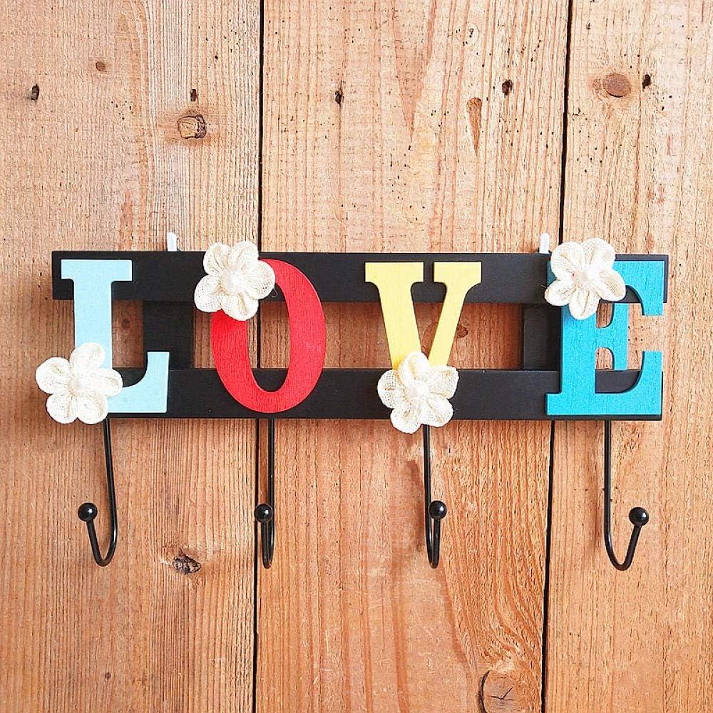 WANDOM Percha con gancho para letras Habitación nórdica de madera creativa Habitación de dormitorio Perchero para montaje en pared Soporte para puerta-LOVE_ (ciruela blanca)