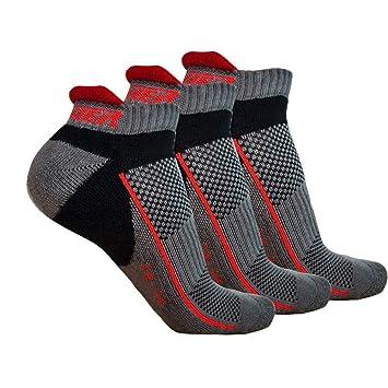 Ogeenier 3P Hombre Calcetines Deporte Calcetines Correr Fondo Más Grueso Low Cut Socks Performance Algodón Calcetines Tobilleros para Running Ciclismo,3 ...