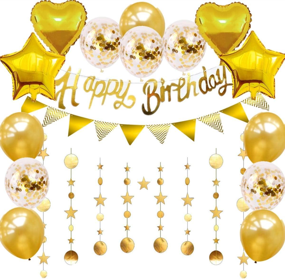 Gold Happy Birthday GarlandHappy Birthday BannerBackdropBirthday Boy Girl Party DecorationsWall DecorationHangingBirthday decoration