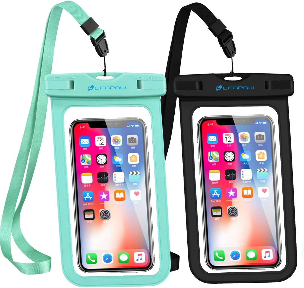 LENPOW Waterproof Phone Case, 2-Pack IPX8 Lanyard Waterproof Phone Pouch, Universal Clear Dry Bag Compatible iPhone 12 11 Pro XS Max XR X 8 7 Plus Galaxy S21/20/10 Note Google Pixel HTC up to 6.9