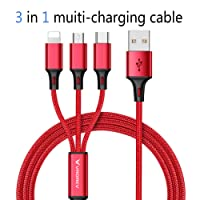 Multi USB Charger Cable, USB to Lighting/Type C/Micro 3 in 1 Multiple Charging Cable Cord Nylon Braided 1.2m(4ft) Multi Charger Connector for Apple iPhone, iPad, Android Samsung Galaxy, Huawei, Motorola, Nokia, LG, Kindle etc. (Red)