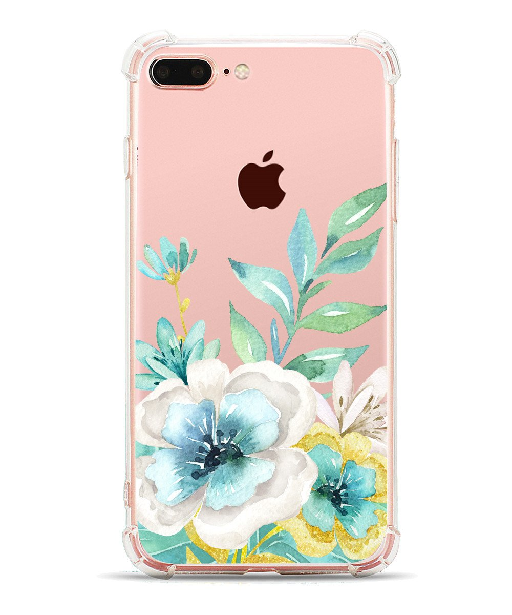 best loved 302de 6ad39 Details about iPhone 8 Plus Case/iPhone 7 Case, Hepix Floral Printed Blue  Flowers Clear...