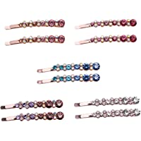 JETEHO 5 Pairs Crystal Rhinestone Bobby Pins Clamps Accessories Hair Clips for Hair