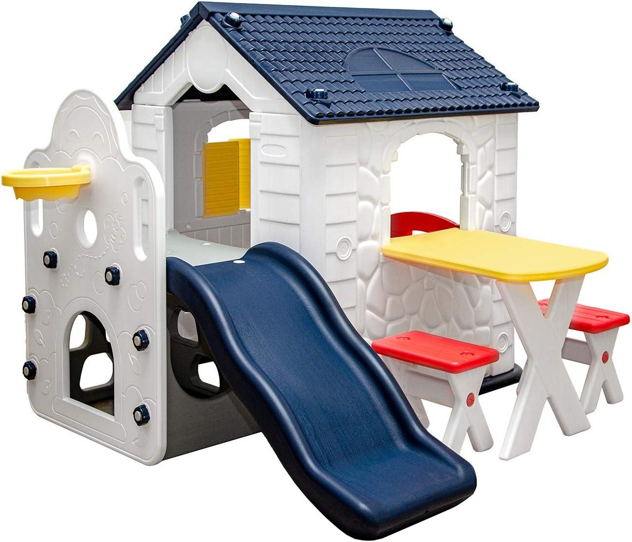 Spielhaus mit Rutsche Kunststoff - LittleTom Spielhaus