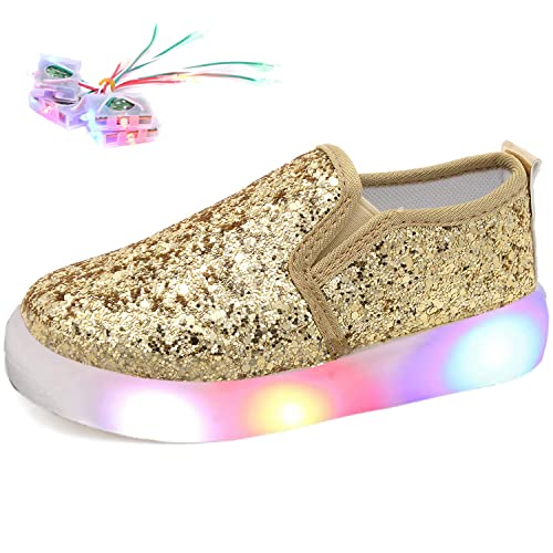 78aa46463362 Odema Girls Slip On Loafers Glitter Flat Shoes Comfort Leather Casual  Slouchy Walking Sneakers Gold