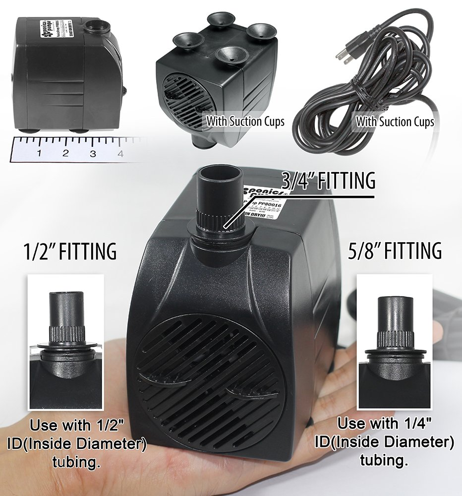 head8feet Amazon.com : PonicsPump PP80016: 800 GPH Submersible Pump with 16' Cord -  60W... for Hydroponics, Aquaponics, Fountains, Ponds, Statuary, Aquariums,  ...