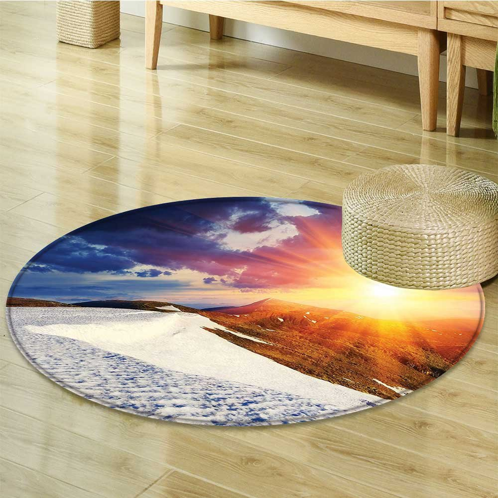 Small round rug Carpet Sunshine Clouds and Valley Sun Divider in College door mat indoors Bathroom Mats Non Slip-Round 63''