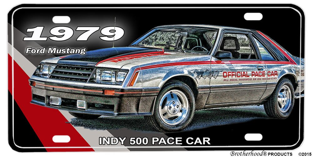 Amazon.com: BrotherhoodProducts 1979 Ford Mustang Indy 500 Pace Car Aluminum License Plate: Automotive