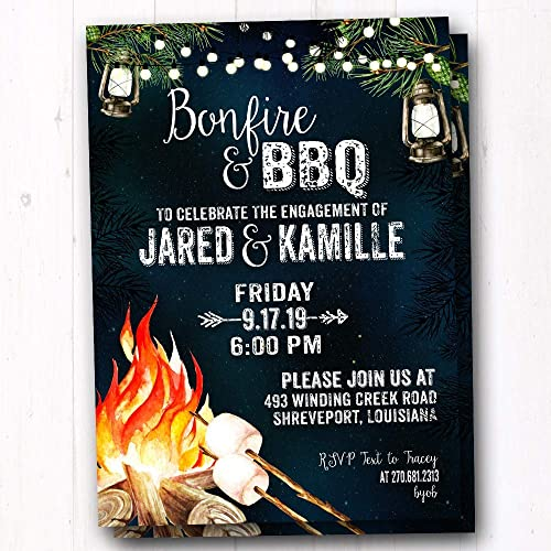 Amazon Com I Do Bbq Bonfire Invitation Rustic Couples Shower