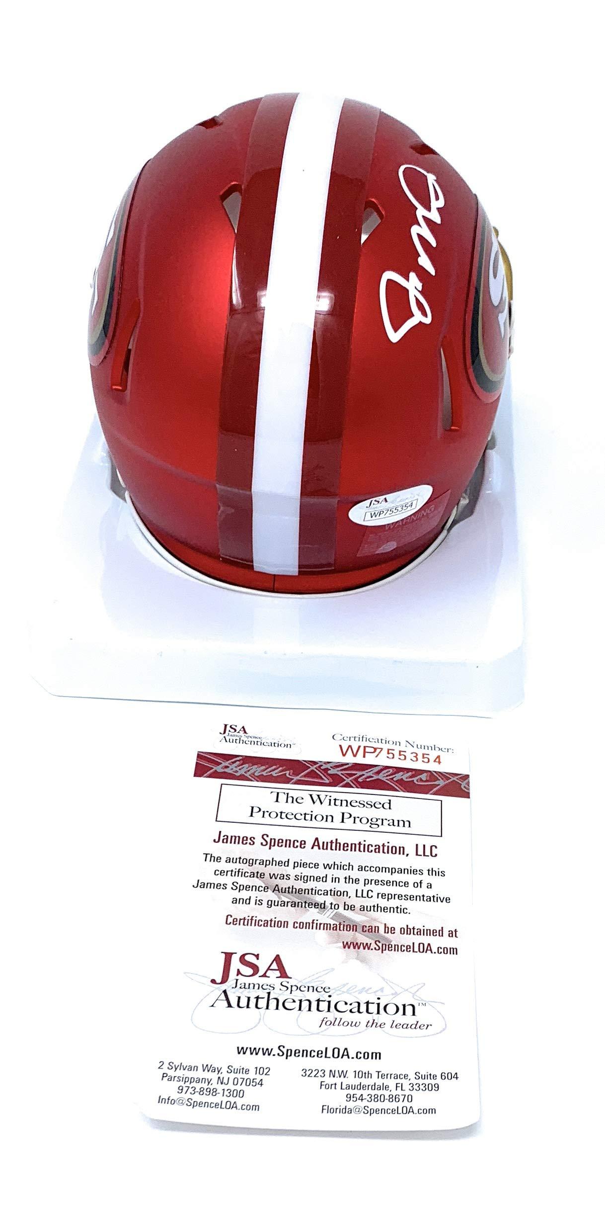 Joe Montana San Francisco 49ers Signed Autograph BLAZE Speed Mini Helmet JSA Witnessed Certified