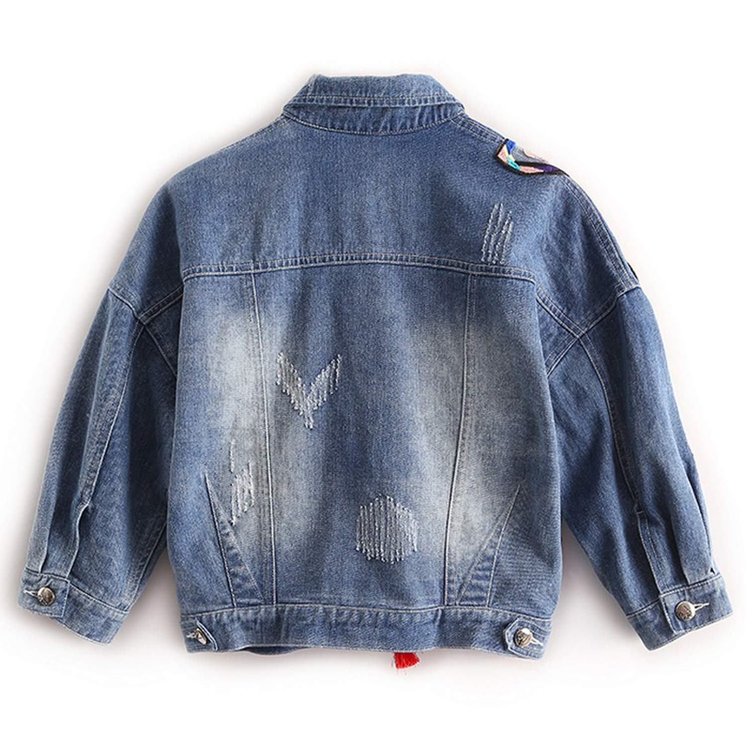 Chiced Colorful Butterfly Embroidery Ladies Jean Jackets Womens Denim Coats with Tassel