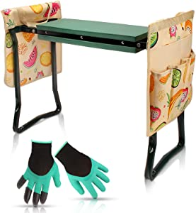VStoy Garden Kneeler and Seat Heavy Duty Portable & Store Gardening Chair with Thick Soft Cushion Kneeling Seating Pad, Folding Gardeners Bench for Yard, Bonus 2 Tool Pouches and Gloves (Green)