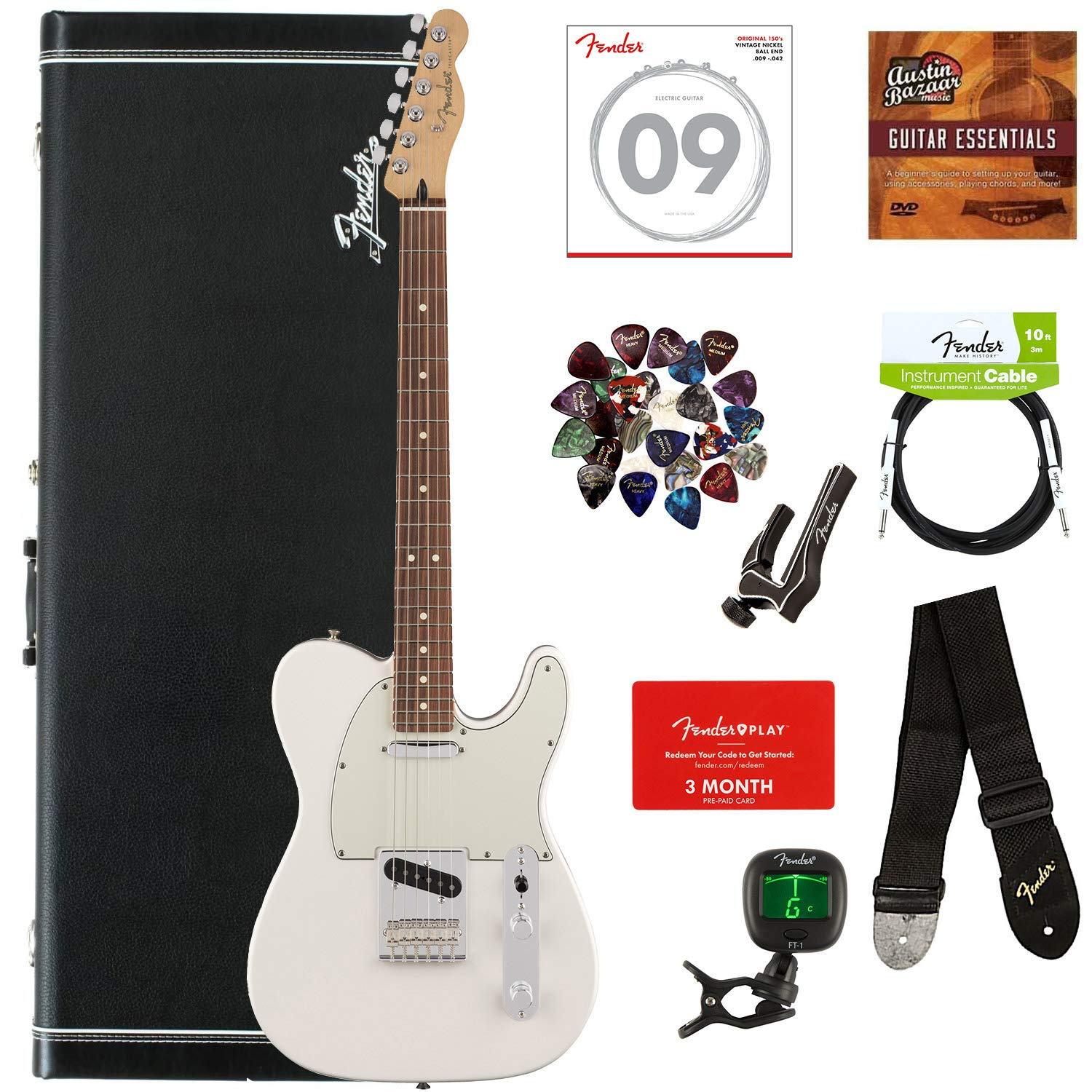 Fender Player Telecaster, Pau Ferro - Polar White Bundle with Hard Case, Cable, Tuner, Strap, Strings, Picks, Capo, Fender Play Online Lessons, and Austin Bazaar Instructional DVD