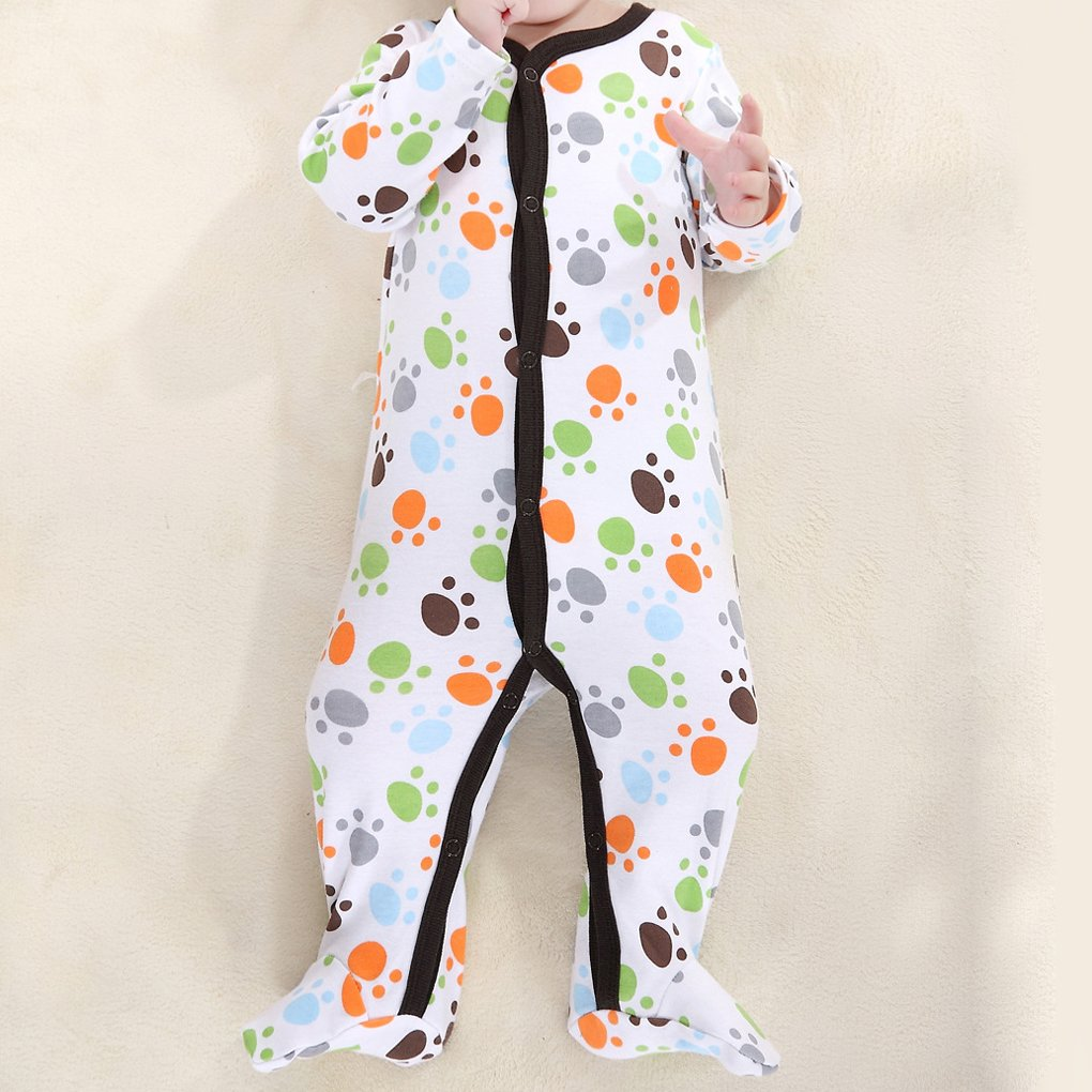 Amazon.com : M-Egal Newborn Boys Cute Small Footprint Footed Sleeper Pajamas Long Sleeved One Piece Garment 0-3 months : Baby