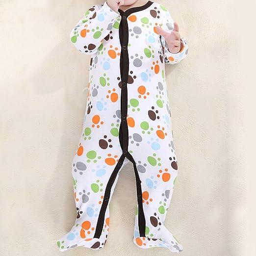 M-Egal Newborn Boys Cute Small Footprint Footed Sleeper Pajamas Long Sleeved One Piece Garment 0-3...