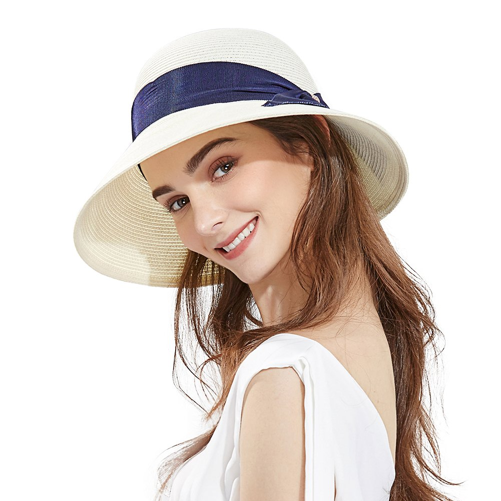 67b2a25a Ladies Summer Sun Hat Women Floppy Panama Straw Beach Hats Foldable Wide  Brim Fedora - UPF