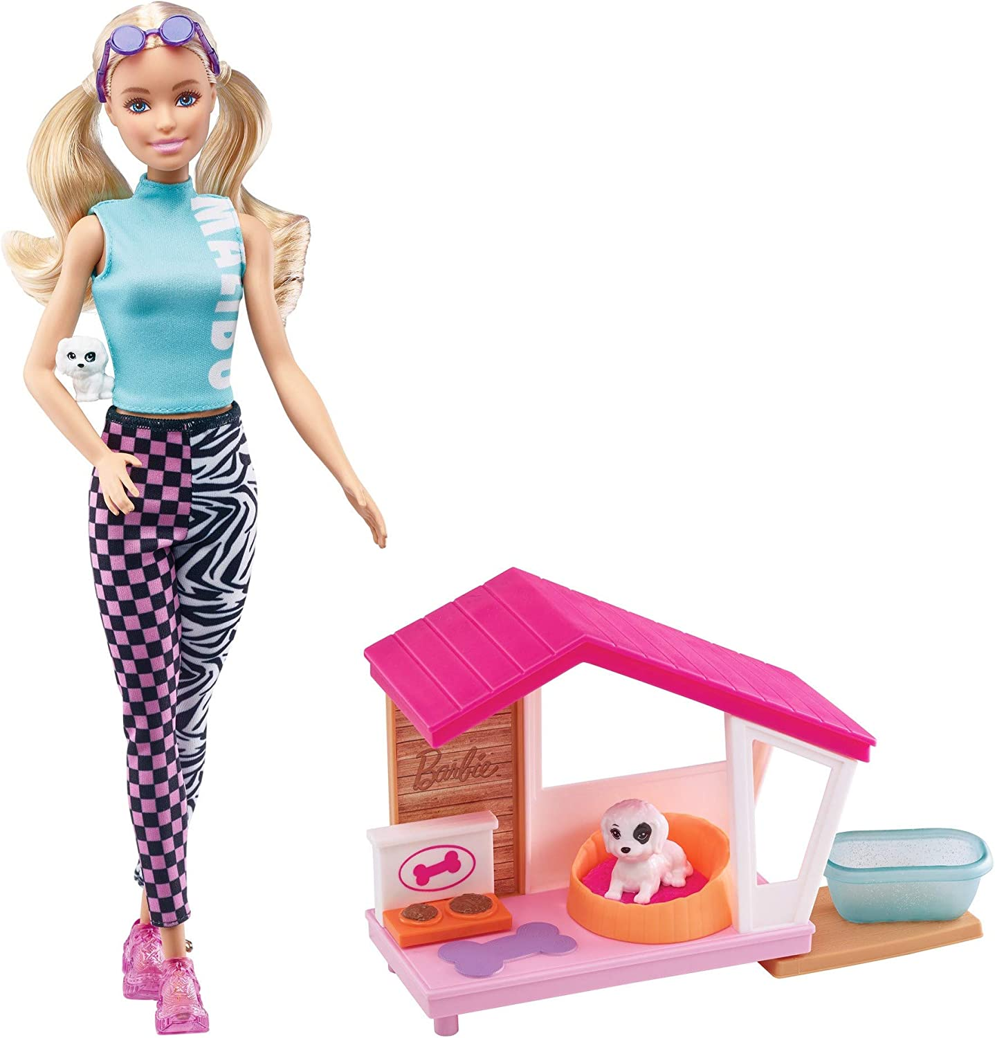 Barbie Mini Playset with 2 Pet Puppies, Doghouse and Pet Accessories, Gift for 3 to 7 Year Olds (GRG78)