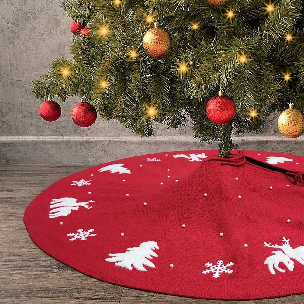 Snowflakes//elk//Cedar Thick Xmas Tree Mat for Holiday Decorations BENERAY 48 Red Christmas Tree Skirt