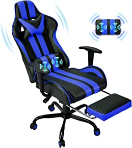 Racing Style PC Computer Chair,Computer Gaming Chair, E-Sports Chair,Ergonomic Office Chair with Height Adjustment,Retractable Footrest,Headrest and Massage Lumbar Support(Navy Blue)