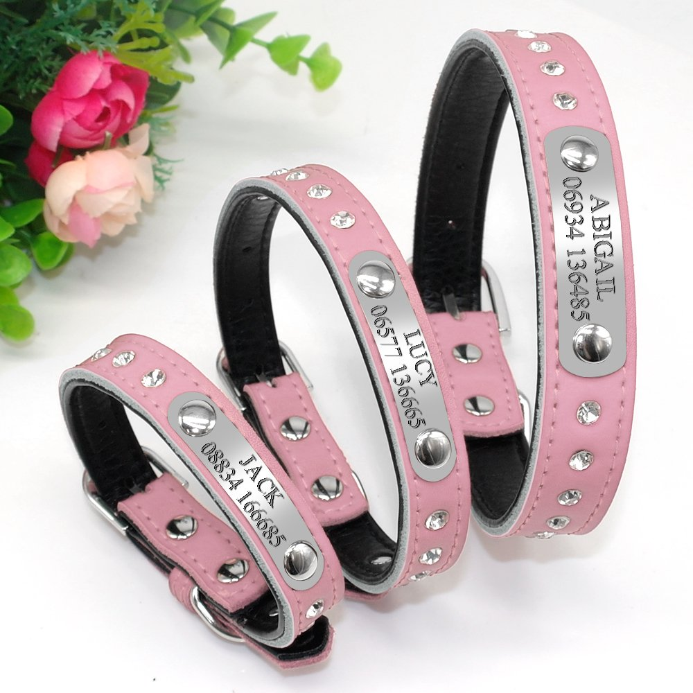 Didog Sparkly Rhinestone Padded Custom Dog Collar with Engrave Nameplate ID Tag,Personalized Leather Pet Collar for Small Medium Dogs and Cats,Pink,S Size