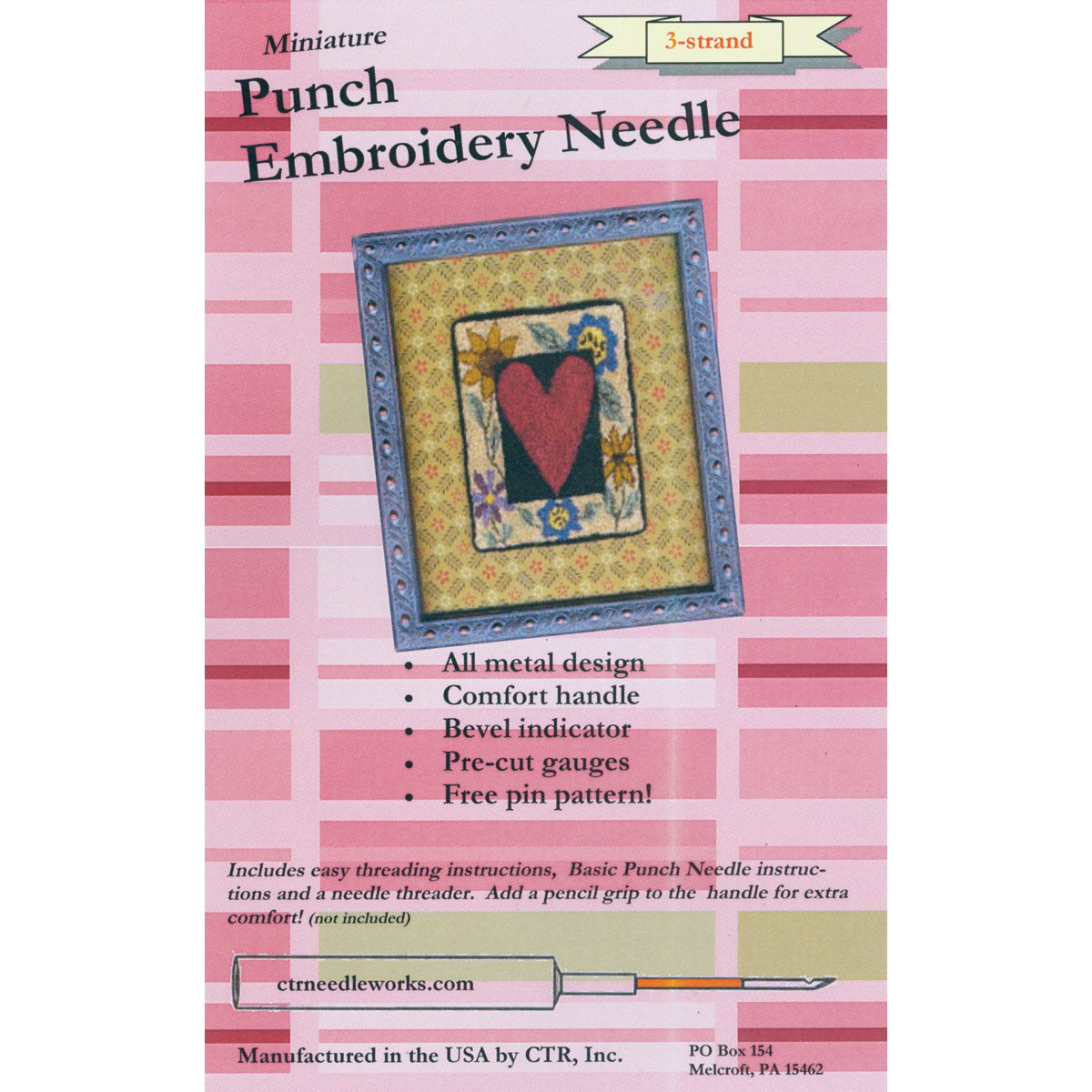 CTR Needleworks Miniature Punch Embroidery Needle-Red 3-Strand 27101946