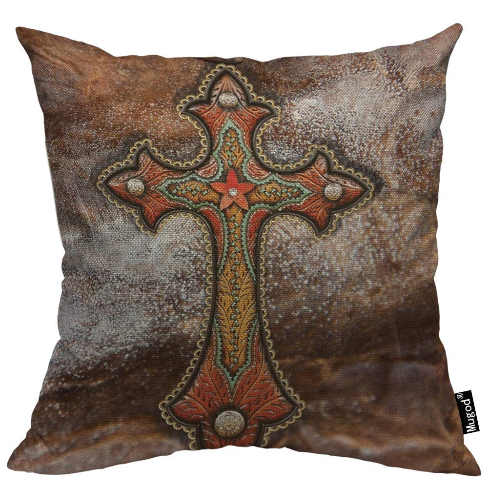 """Mugod Cross Pillow Cover Tooled Leather Western Decor Turquoise and Brown 18""""x 18"""" Soft Square Cotton Linen Pillow Case Cushion Cover Home Decorative for Men Women Boys Girls"""