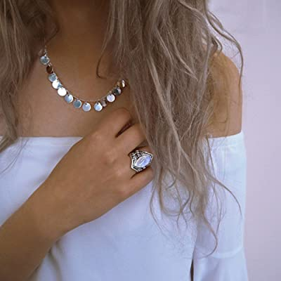 Luxury and Shining 1PC Boho Jewelry Silver Natural Gemstone Marquise Moonstone Personalized Ring: Clothing