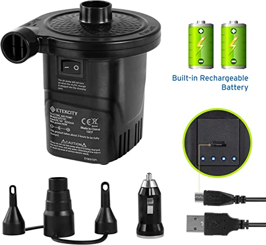 USB POWERED ELECTRIC AIR PUMP FOR INFLATABLE TOYS FLOATS AIRBEDS 3 Nozzle