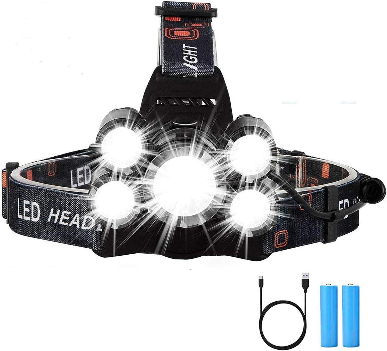 pesca batteria con 4 modalit/à e fascia regolabile per casco da campeggio super luminosa zoomabile 1000 lumen ricaricabile USB Hisome Lampada frontale a LED impermeabile