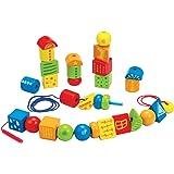 Hape String Along Shapes Wooden Block Toddler Lacing Toy