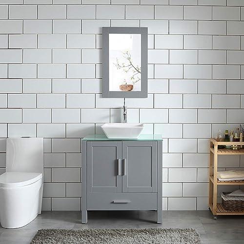 30″ Gray Bathroom Vanity and Sink Combo MDF Wood Glass Top Heighten Cabinet w/Mirror Faucet Drain