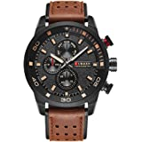 Curren Original Brand Men's Sports Waterproof Leather Strap Wrist Watch 8250 Brown Black
