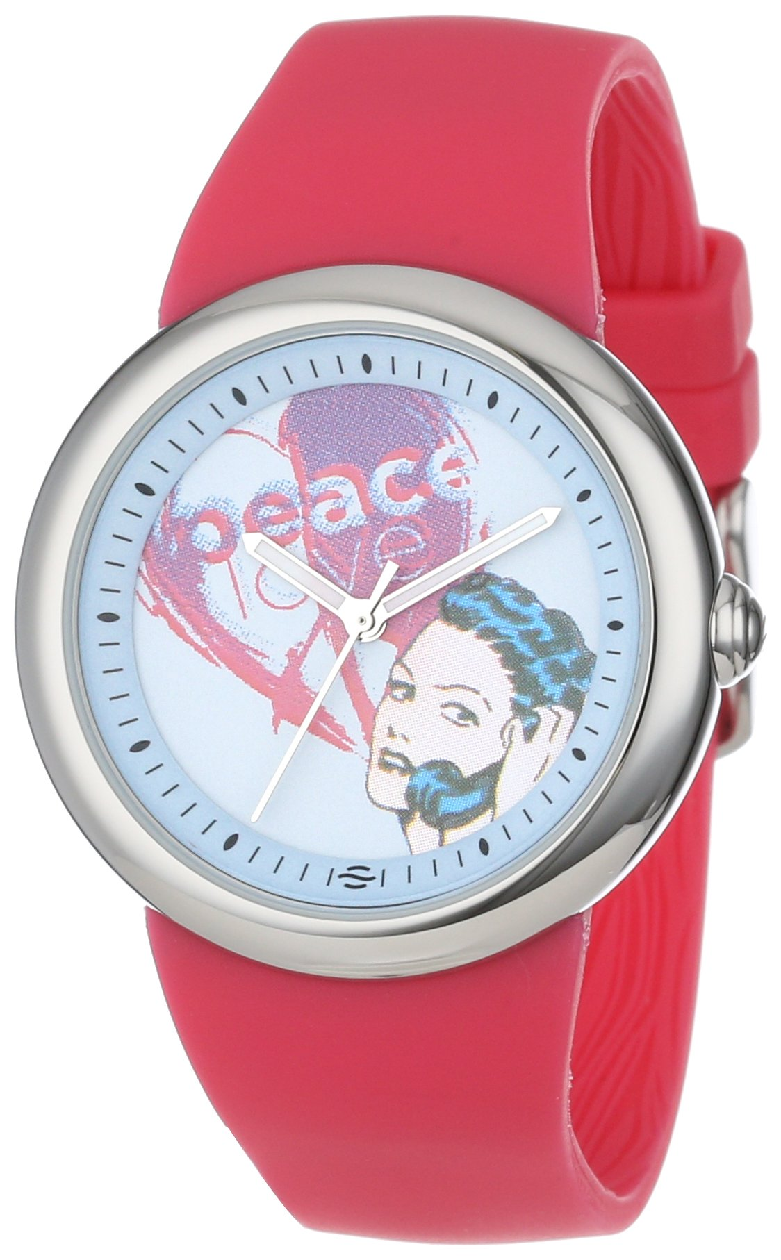 PeaceLove Unisex F36S-PLPCBL-HP ''Zotos'' Art Dial Stainless Steel Watch with Hot Pink Silicone Strap
