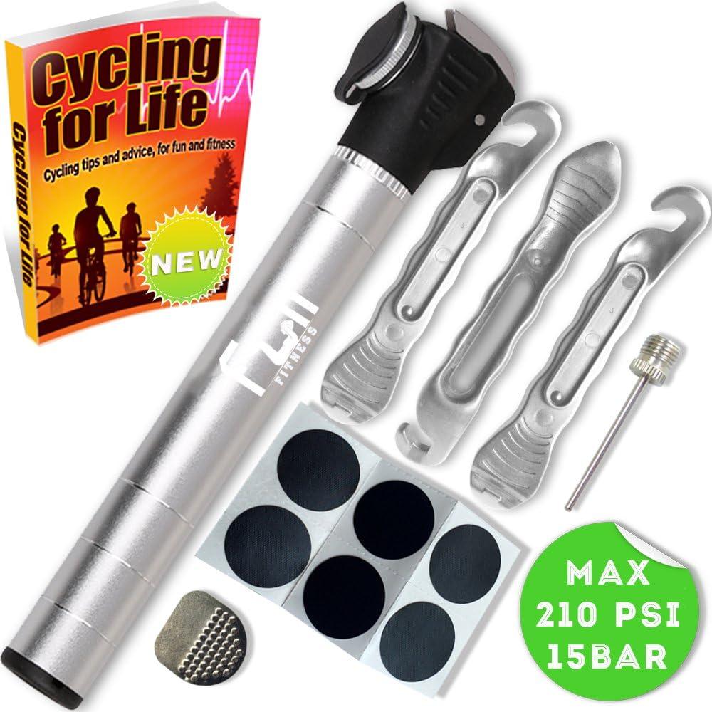 Mini Bomba DE Bici (Plateado) con Kit Reparador De Neumáticos Y ...
