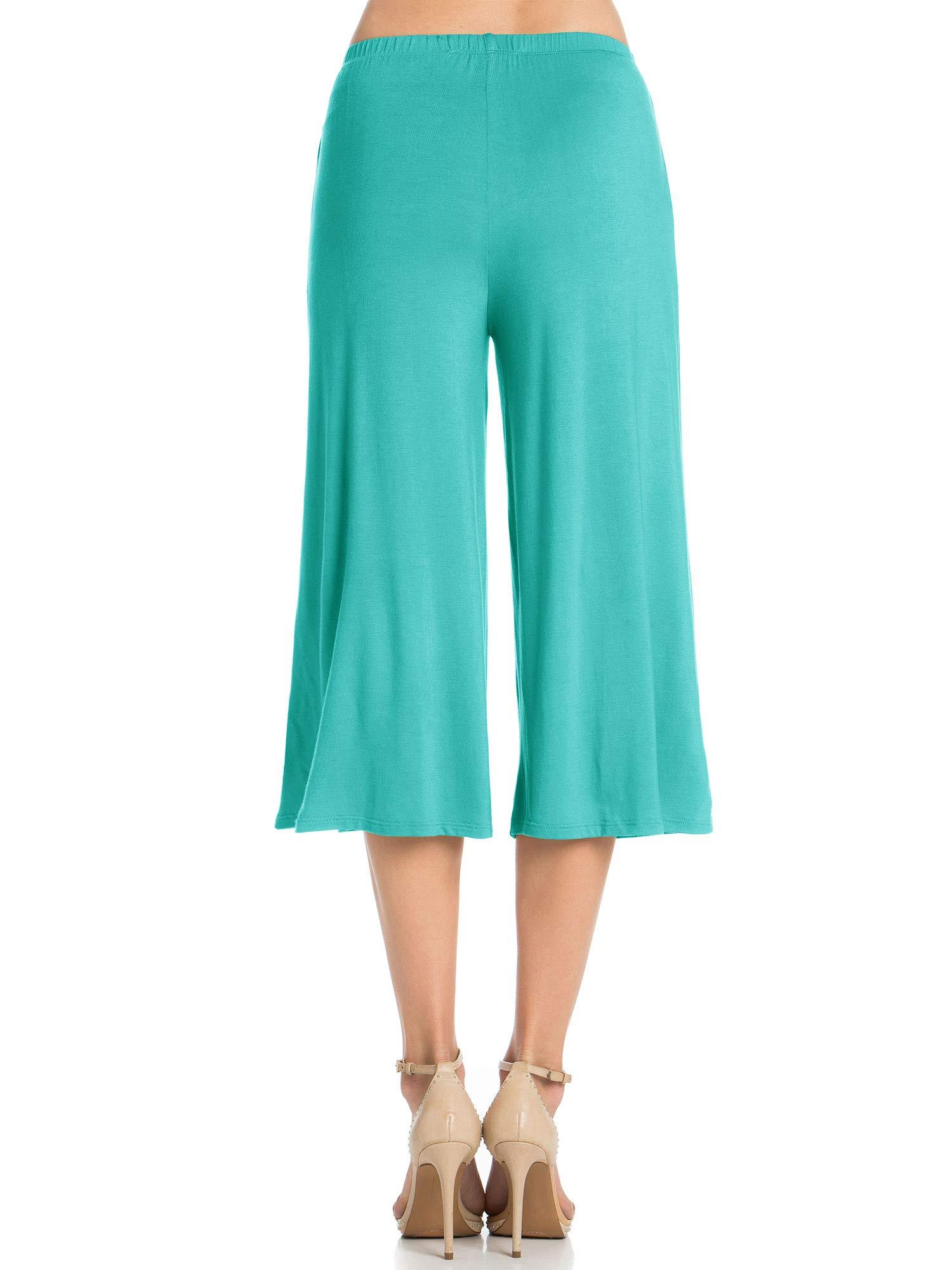 Fashion California Womens 1 Pack Elastic Waist Jersey Culottes Capri Pocket Pants (XXXXX-Large, Aqua) by Fashion California (Image #5)