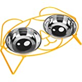 E-ROOM TREND Elevated Cat Bowls,Cute Metal Raised Pet Bowl for Cat and Small Dog Come with 2 Stainless Steel Cat Feeder Bowls Set for Food and Water with Anti Slip Feet