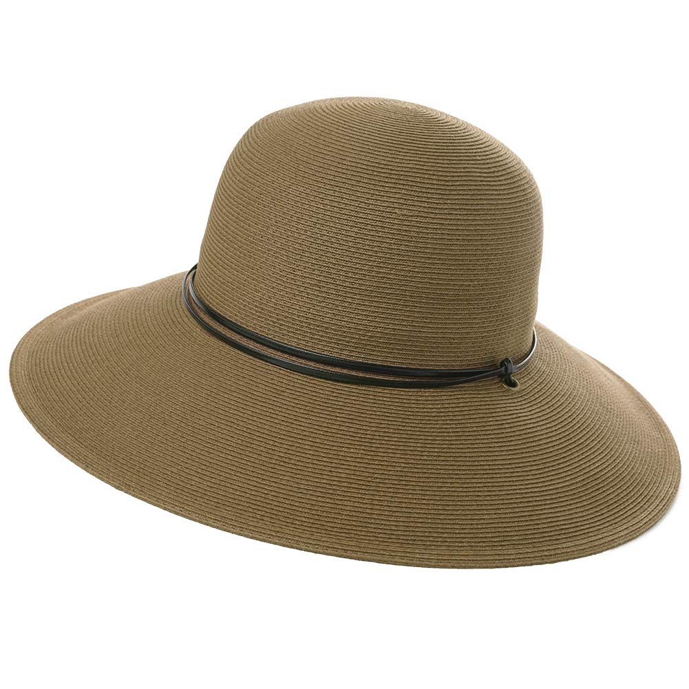 f3dc56b5d62b9 Wide Brim Braided Sun Hat Chin Strap UPF 50+ Protection Womens Panama  Fedora Outdoor Beach Hiking Packable Brown at Amazon Women s Clothing store
