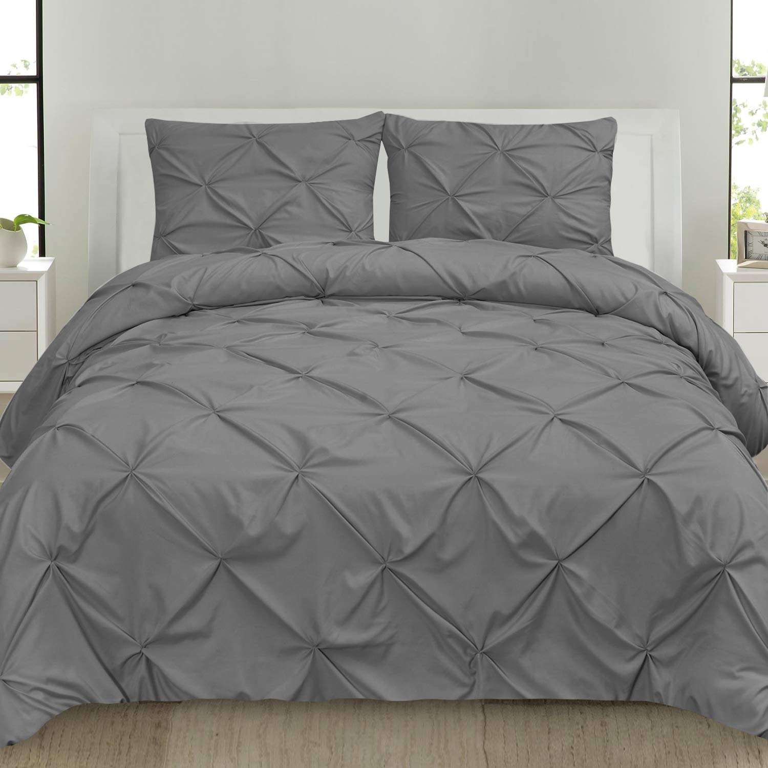Sweet Home Collection 3 Piece Luxury Pinch Pleat Pintuck Fashion Duvet Set, Queen, Gray