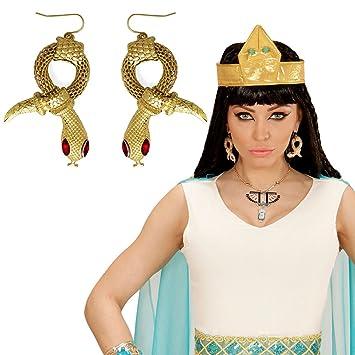 Amakando Aros Cleopatra Pendientes de Serpiente faraona Joyas Reina egipcia Accesorio Disfraz Mujer Clips Orejas egipcios