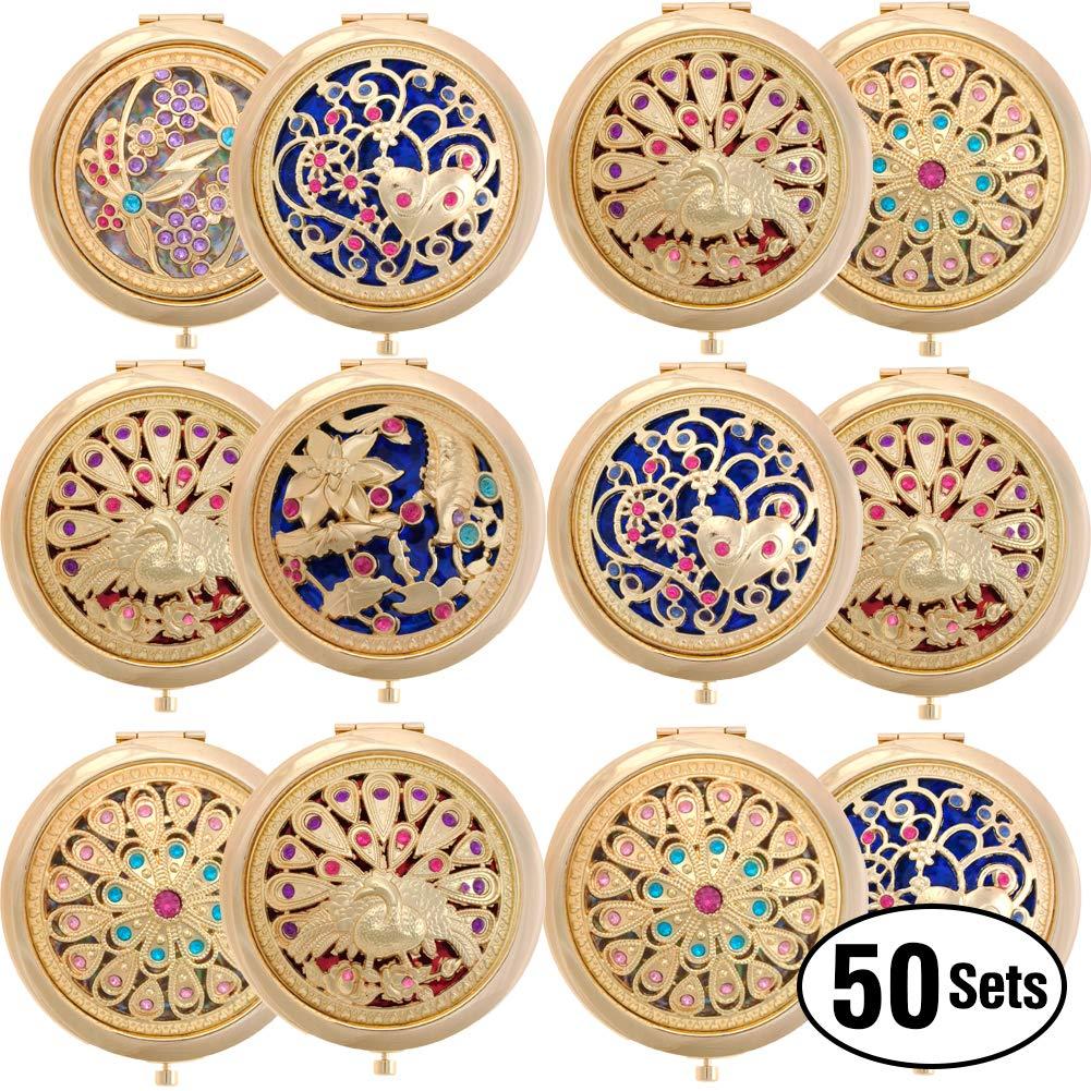 GOGO盛り合わせ化粧コンパクトポータブルハンドミラーラウンド卸売 B07S6SNB1P ゴールド 50BOX