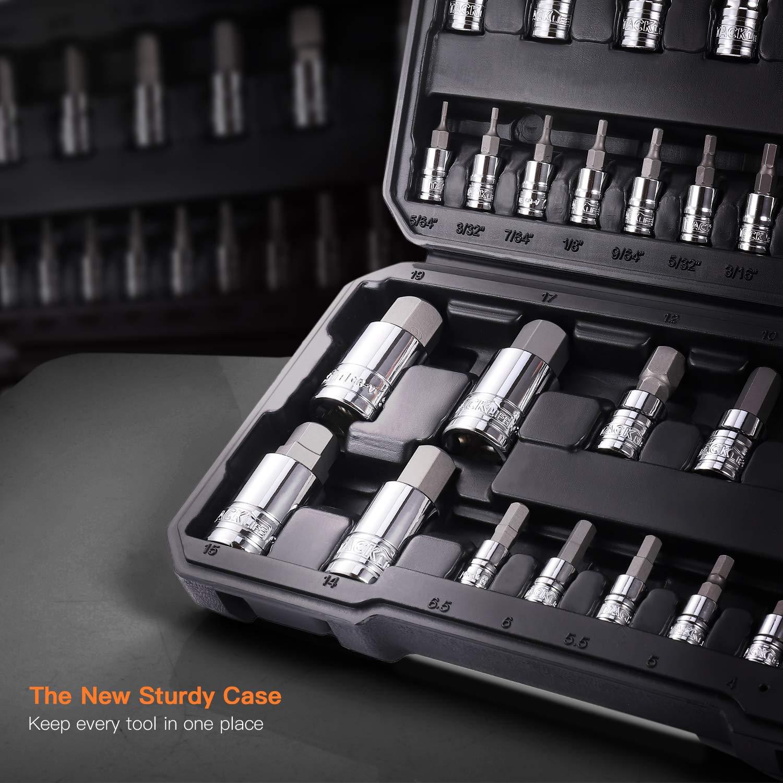 TACKLIFE Master Hex Bit Socket Set, S2 Steel | Metric and SAE | 35-Piece Set - HBS1B