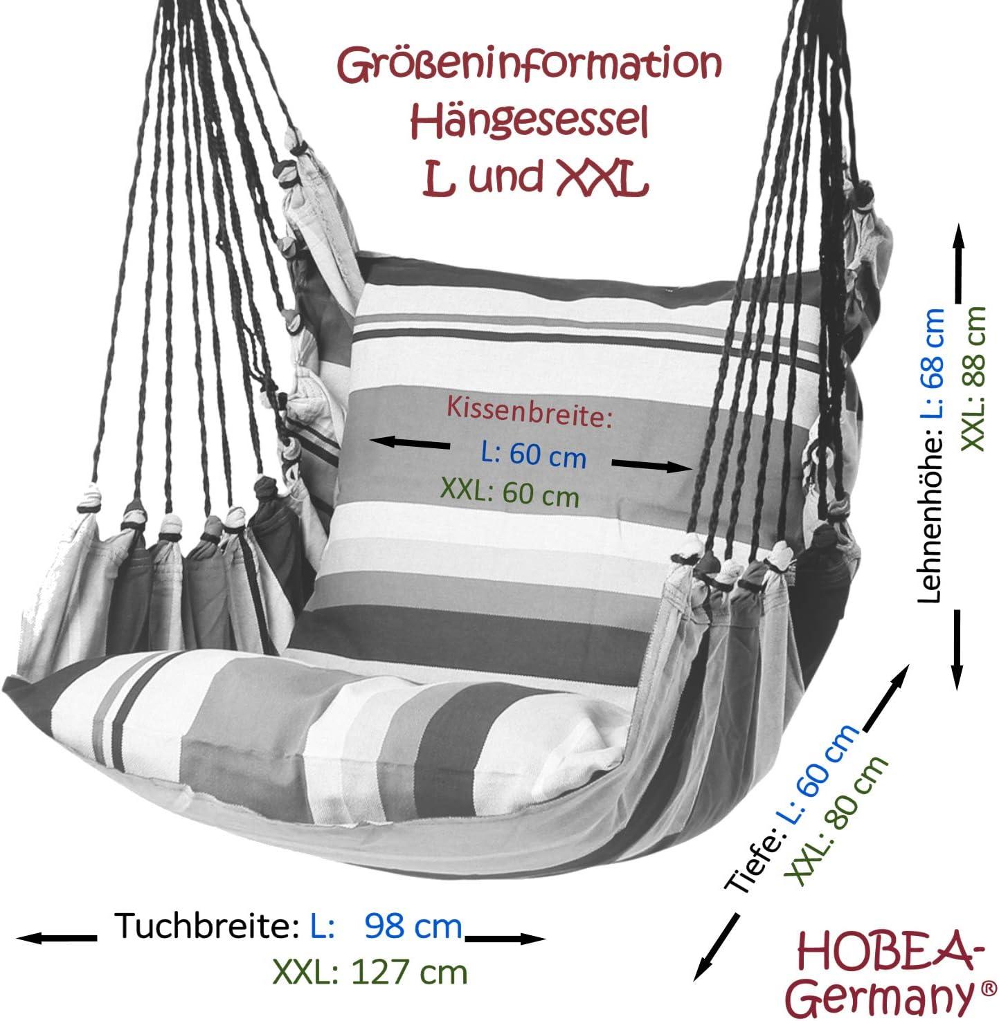 bis 120kg belastbar Colori Sedia sospesa:Toskana Dimensioni Sedia Amaca: L HOBEA-Germany Sedia sospesa con 2 Cuscini in Diversi Colori