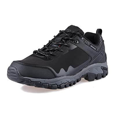 GRITION Mens Hiking Boots Waterproof Work Boots with Warm Lining for Outdoor Walking Trekking Travelling Black: Shoes