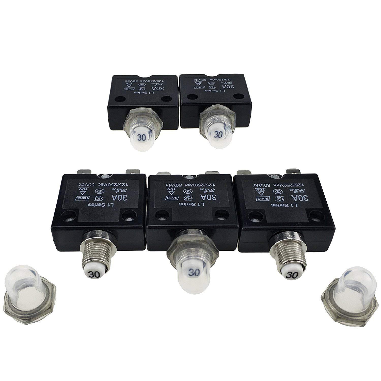 T Tocas 5/pcs Bouton poussoir Reset 5/A Disjoncteurs avec bornes rapides et /étanche Button Cap
