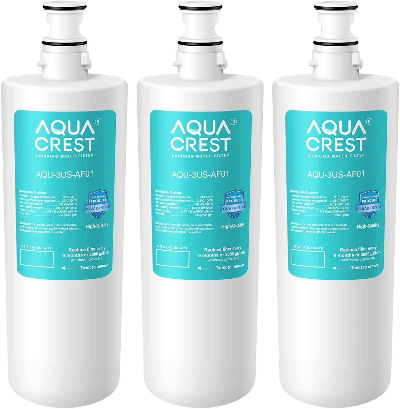 AQUACREST 3US-AF01 Undersink Water Filter, Compatible with Filtrete Standard 3US-AF01, 3US-AS01, Aqua-Pure AP Easy C-CS-FF, Whirlpool WHCF-SRC, WHCF-SUFC, WHCF-SUF, Pack of 3