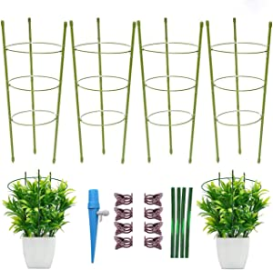 zoochii-Purpose 17.7 Inch Green Garden Plant Support/Tomato Cages with 8 Clips for Vegetables Small Plants (4 pcs/Pack)