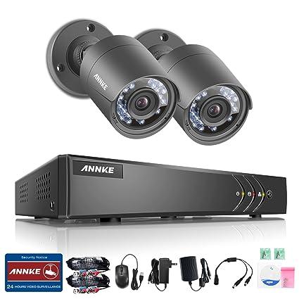 ANNKE Kit de 2 Cámaras de Vigilancia Seguridad CCTV DVR 4CH TVI 1080P Lite Recorder 720P