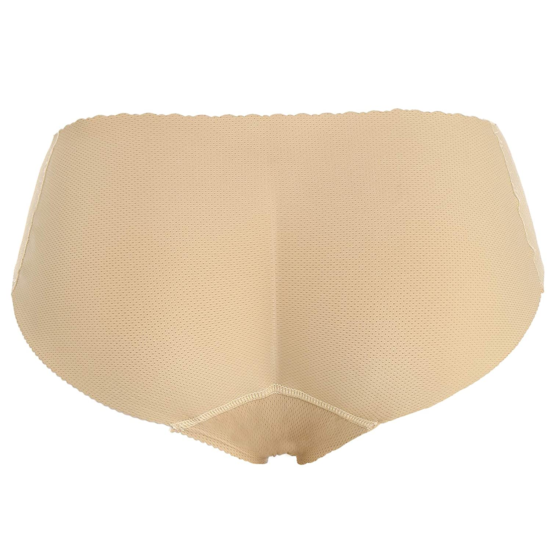 Joyshaper Padded Briefs Women Butt Lifter Panties Hip Enhancer Control Knickers Seamless Pants Thong Booty Shorts Boyshorts Lingerie Underwear Body Shaper Shapewear (Beige, S)