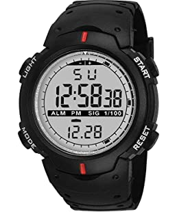 unequetrend LED Screen Large Face Military Stopwatch Alarm Simple Army Men's Digital Sports Watch (Black)